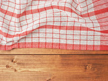 Tablecloth or towel over the wooden table Stock Image