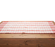 Tablecloth or towel over the wooden table Stock Photo
