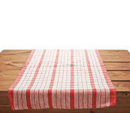 Tablecloth or towel over the wooden table royalty free stock photos