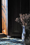 Tablecloth with vase. And lavender near a window Stock Images