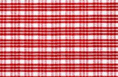 Tablecloth verificado vermelho fotografia de stock royalty free