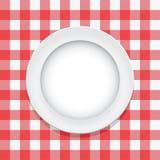 tablecloth vermelho do vetor e placa vazia Imagem de Stock Royalty Free