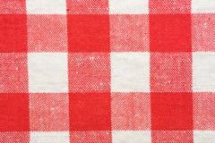 Tablecloth vermelho e branco Imagens de Stock Royalty Free