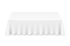 Tablecloth. White rectangular table with tablecloth vector illustration isolated Stock Image