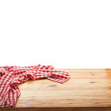 Tablecloth on wooden deck table, white background. Royalty Free Stock Photography