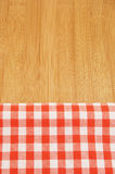 Tablecloth on wooden table background Stock Photo