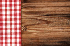 Tablecloth on wooden table background Royalty Free Stock Photos