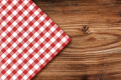 Tablecloth on wooden table background Stock Photography