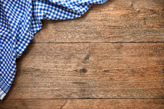 Tablecloth on wooden table Royalty Free Stock Photography