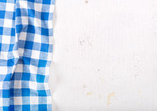 Tablecloth on wooden table. Blue tablecloth on old wooden table Royalty Free Stock Photo
