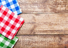 Tablecloth on wooden table Stock Photos