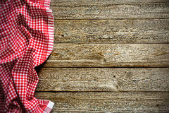 Tablecloth on wooden table Stock Photo