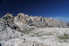 The tableland of Pale. A view of the peaks surrounding the tableland; Pale group; Dolomites; Trentino; Italy Royalty Free Stock Photo