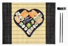 tablemat суш плиты сердца форменное Стоковые Изображения