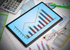 Tablen with graph Royalty Free Stock Image