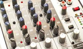 Tablero audio del mezclador Imagen de archivo libre de regalías