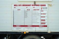 Tablero bien de la respuesta de emergencia del sitio Foto de archivo