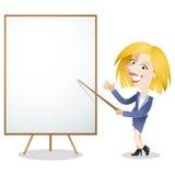 Tablero blanco del espacio en blanco de la mujer de negocios de la historieta Imagen de archivo libre de regalías