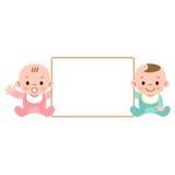 Tablero blanco y bebés Imagen de archivo