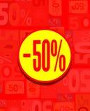 Tablero colorido para el descuento del 50% en rojo y amarillo Fotos de archivo libres de regalías