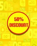 Tablero colorido para el descuento del 50% en tonos amarillos Foto de archivo libre de regalías