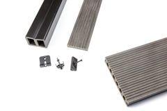 Tablero compuesto gris del decking con el material de la cerradura Imágenes de archivo libres de regalías