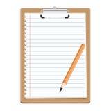 Tablero con el papel en blanco y el pensil ilustración del vector