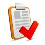 Tablero con la lista de control en el fondo blanco Imágenes de archivo libres de regalías