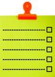 Tablero con la lista de verificación en blanco Foto de archivo libre de regalías