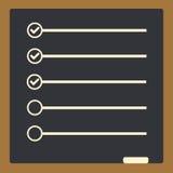 Tablero con para hacer líneas de la lista con las cajas de control lista de control para no Fotografía de archivo libre de regalías