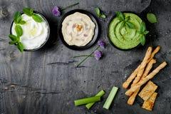 Tablero crudo del bocado de las verduras verdes con las diversas inmersiones Salsa o labneh, hummus, hummus o pesto con las galle imagen de archivo