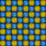 Tablero de ajedrez azul y amarillo de madera Imagen de archivo libre de regalías