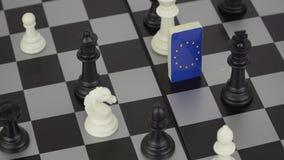 Tablero de ajedrez con las banderas de países stock de ilustración