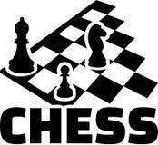 Tablero de ajedrez con palabra Empeño y caballo del obispo Fotos de archivo libres de regalías