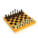 Tablero de ajedrez con una serie completa de figuras Imagen de archivo