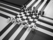 tablero de ajedrez 3d con las figuras Fotos de archivo libres de regalías
