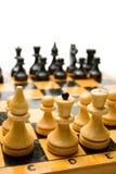 Tablero de ajedrez de madera Imagen de archivo libre de regalías