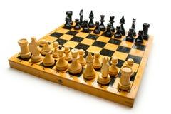 Tablero de ajedrez de madera Fotografía de archivo libre de regalías