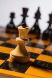 Tablero de ajedrez de madera Fotografía de archivo