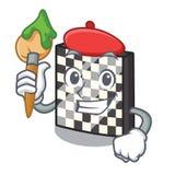 Tablero de ajedrez del artista con en la mascota de a ilustración del vector