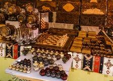 Tablero de ajedrez de madera de los recuerdos armenios imagen de archivo libre de regalías