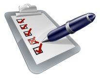 Tablero de clip de la encuesta e icono de la pluma Imágenes de archivo libres de regalías