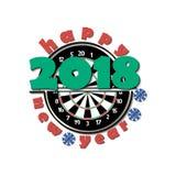 Tablero de dardos y Año Nuevo 2018 ilustración del vector