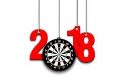 Tablero de dardos y 2018 que cuelgan en secuencias ilustración del vector