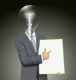 Tablero de With Empty Write del hombre de negocios de la cabeza de la lámpara del vector ilustración del vector