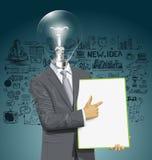 Tablero de With Empty Write del hombre de negocios de la cabeza de la lámpara del vector Imagenes de archivo