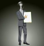 Tablero de With Empty Write del hombre de negocios de la cabeza de la lámpara del vector Imagen de archivo libre de regalías