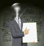 Tablero de With Empty Write del hombre de negocios de la cabeza de la lámpara del vector Fotos de archivo libres de regalías