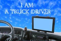 Tablero de instrumentos del camión con la inscripción en el cielo azul Imagen de archivo libre de regalías