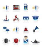 Tablero de instrumentos del coche - iconos realistas del vector Imagen de archivo